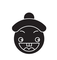 happy chinese emoji black concept icon vector image