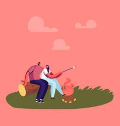 happy couple dating on picnic love young man and vector image