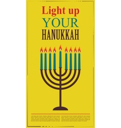 Happy Hanukkah greeting card design jewish holiday vector image