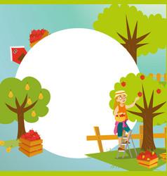 harvesting flat poster vector image