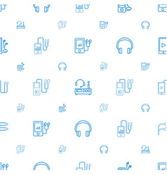 Headphones icons pattern seamless white background vector