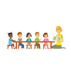 international kindergarten - cartoon people vector image