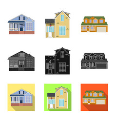 Isolated object building and front symbol set vector