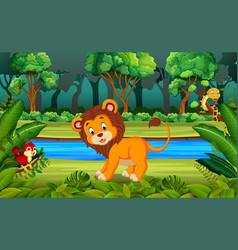 lion in the forest vector image