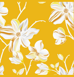 Magnolia seamless pattern repetition floral print vector