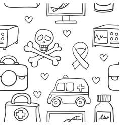 Medical element doodles vector