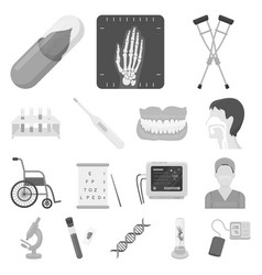 medicine and treatment monochrome icons in set vector image