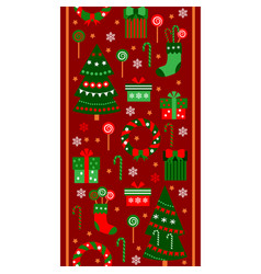 Merry christmas and happy new year vertical border vector