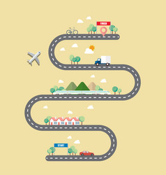 Mode of transportation with town road vector