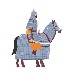 mongol nomad warrior riding horse central asian vector image