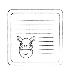 Monochrome blurred card with male zebra head vector