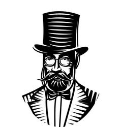 monochrome of a gentleman and vector image