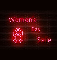 neon womens day slae sign shoping light is vector image