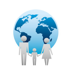 parents with son and planet earth silhouette vector image
