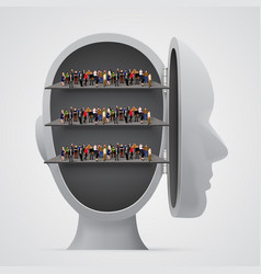 People crowd on shelves inside head vector