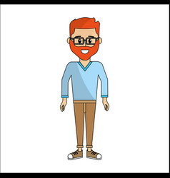 People man with casual cloth and glasses avatar vector