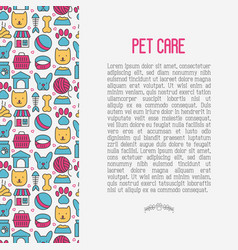 pet care concept with thin line icons vector image