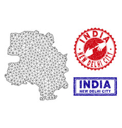 Polygonal network new delhi city map and grunge vector