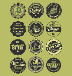 Premium quality retro badges collection green set vector