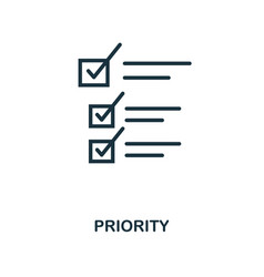 Priority icon outline style thin line creative vector