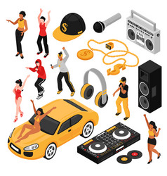 rap music isometric set vector image