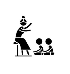 reading in kindergarten black icon sign on vector image
