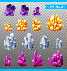 realistic crystals transparent set vector image
