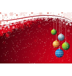 red background with christmas ball vector image