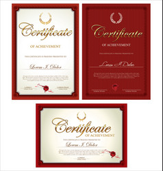Red certificate collection vector