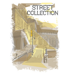 Retro sketch city fashion street collection vector