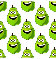 Seamless pattern of happy green pears vector image