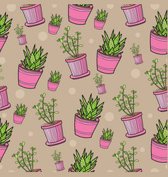 seamless pattern with house plants in pink pots vector image