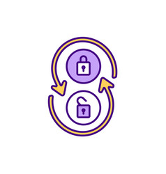 Secure and insecure access rgb color icon vector