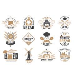 set bakery shop badge design vector image