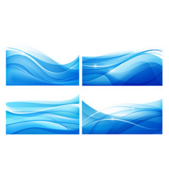 Set of abstract blue wavy background water vector