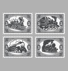 set of stamps templates with retro trains vector image