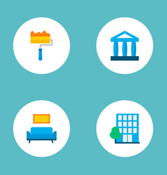 set of urban icons flat style symbols with vector image