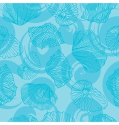 Shells and waves curls Seamless pattern vector