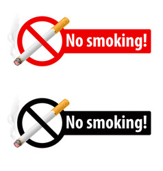 Signs no smoking on white background vector