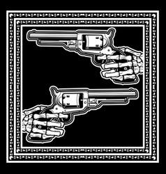 Skull hand hold uzi gunhand drawing vector