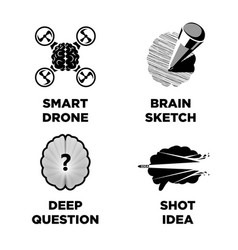Smart brain and innovative intelligence idea vector