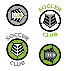 Soccer club emblem ball shoelace vector