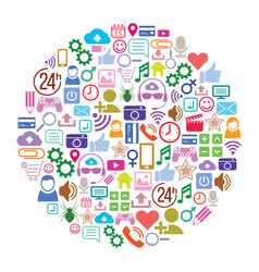 Social media background of the icons layout vector