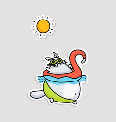 sticker with fat funny cat going to swim cartoon vector image