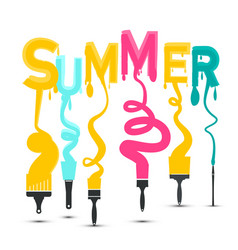 summer title with colorful brushes design vector image
