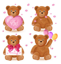 teddy bear set romantic cute cartoon bears vector image