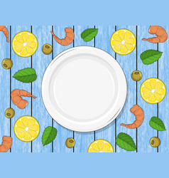 Template for your design empty plate on wood blue vector