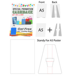 tent card a5 size mock up die-cut vector image