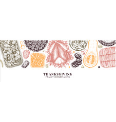 thanksgiving food banner design in color vector image