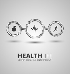 Three health symbols in the chrome circles vector